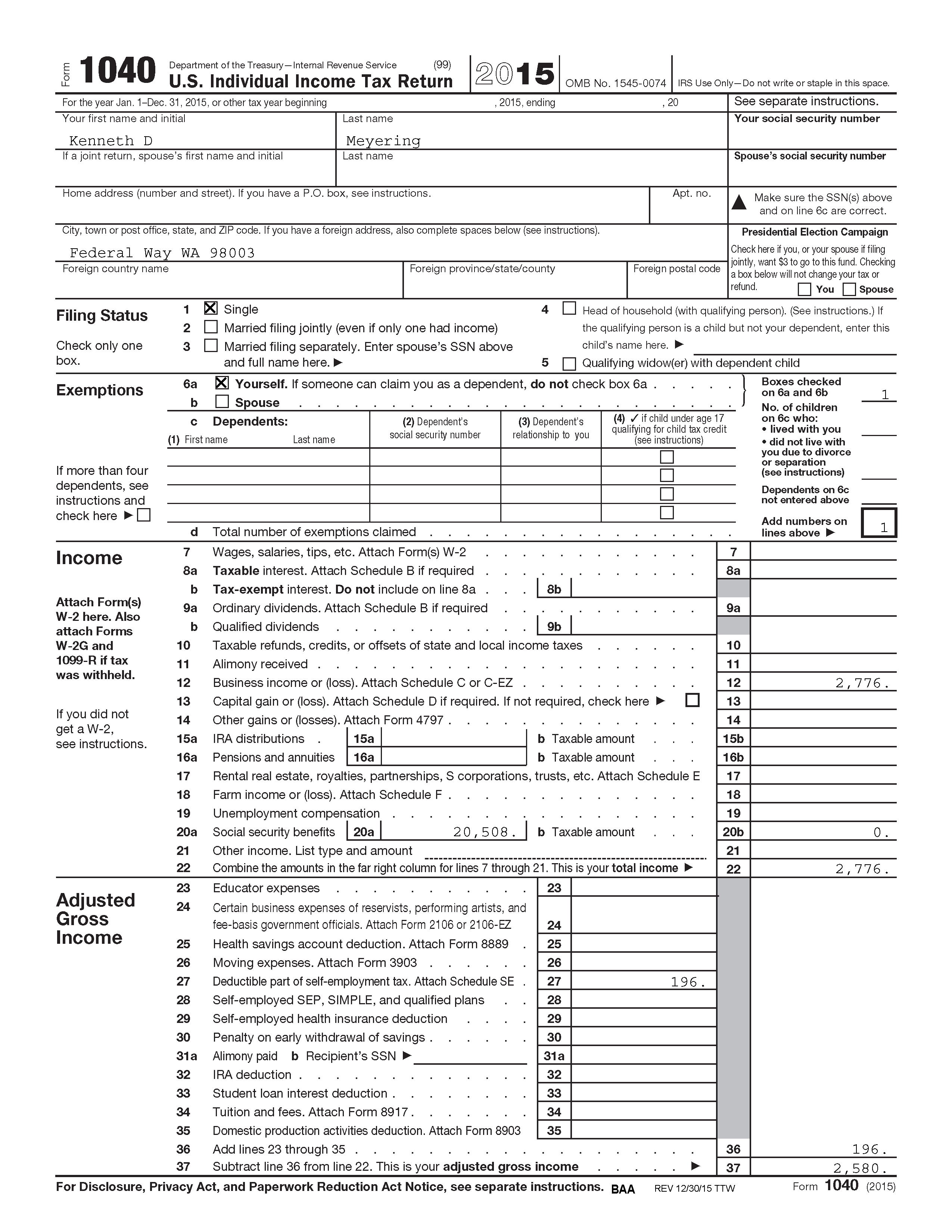 Ken's 2015 Tax Return - Page 1